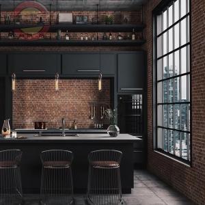 Кухня прямая линейная темная №2