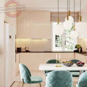 Кухня без ручек угловая №9