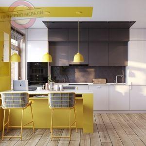Кухня прямая линейна желтая №1