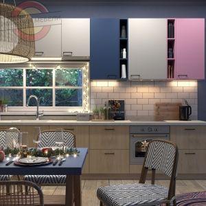 Кухня прямая линейная цветные фасады №2