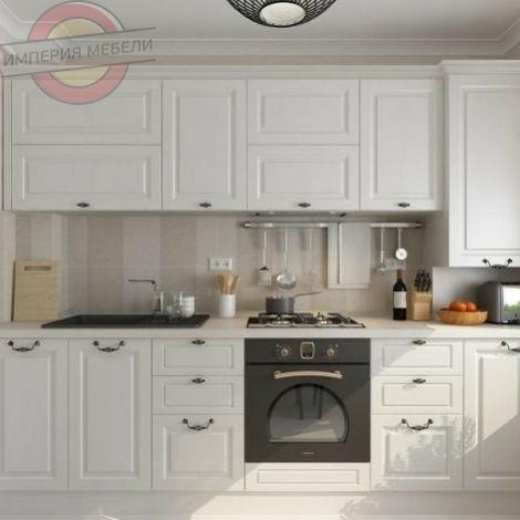 Кухня прямая линейная, белая (краска) №2